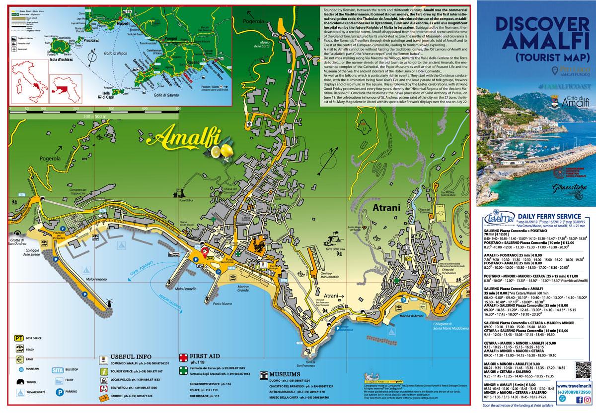 Tour Costiera Amalfitana Cartina.Discovery Amalfi Map